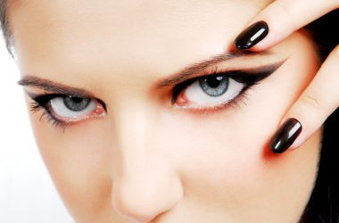 Fashion style. Woman face with so sexy «black eyes»